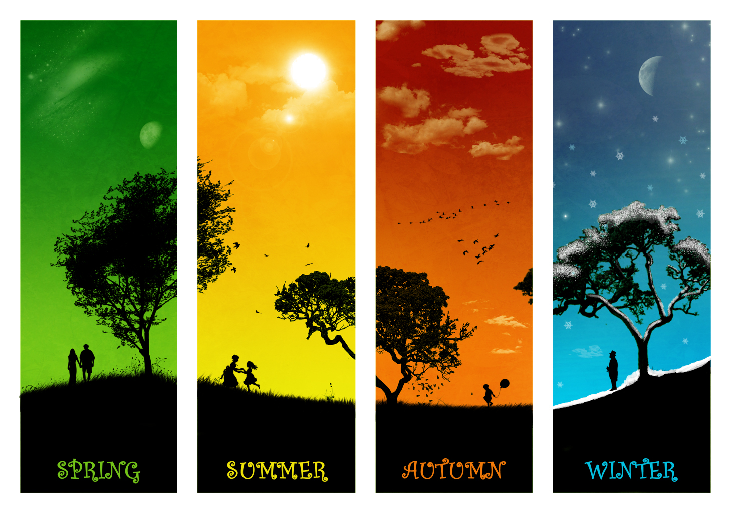 The four seasons, summer, winter, spring, Autumn - Lesson